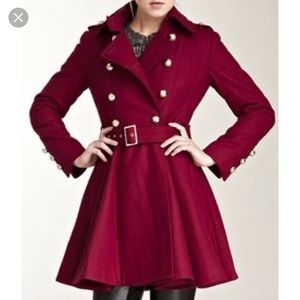 Miss Sixty Fit and Flare Wine Wool Coat - sz S
